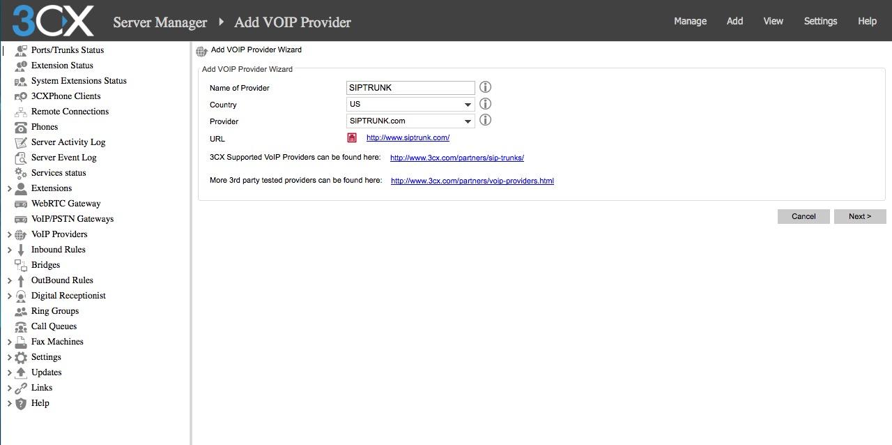 3CX IP-PBX V 12 5 SIPTRUNK com Trunk Configuration – Help Center